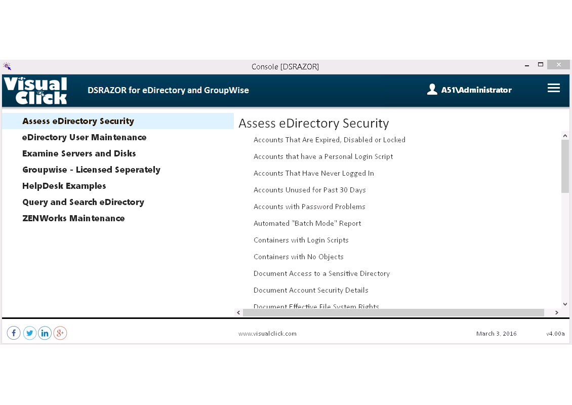 DSRAZOR for eDirectory Reporting and Management Console